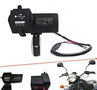 12v-24v carro motocicleta impermeável duplo carregador usb com voltímetro digital levou handbar montagem