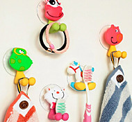 1PCS PVC 3D Cartoon Animal Sucker Rotatable Towel&Toothbrush Holder Hook(Random Color,7.5x4cm)