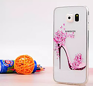 High Heels Pattern Luxury Fashion Acrylic soft Case with Diamond for Samsung Galaxy S6/S6 edge