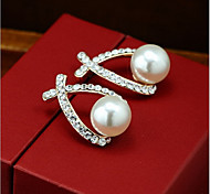 New Arrival Fashional Rhinestone Pearl Water Drop Earrings