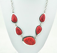 Vintage Look Antique Silver Plated Red Water Drop Turquoise Stone Necklace Pendant(1PC)