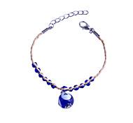 Fashion   Blue Eye-Ball And Beads Lacing  Straw Rope Bracelet