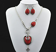 Vintage Look Antique Silver Red Turquoise Lava Stone Necklace Earring Jewelry Set(1Set)