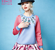 ELFSACK Women's Round Neck Long Sleeve Hoodie & Sweatshirt Pink / Orange - 1441103