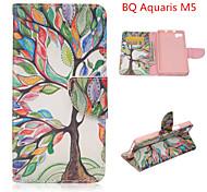 l'albero della moda modello di vita la cassa di cuoio dell'unità di elaborazione con il basamento e il supporto di carta per bq Aquaris m5