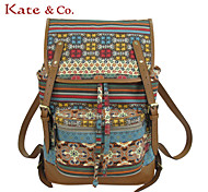 Kate & Co.® Women PVC / Canvas Backpack Multi-color - TH-02236