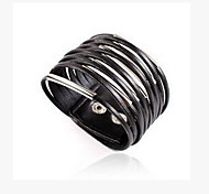 Bohemian Fashion Retro Multi-layer Leather Metal Wide Bracelet
