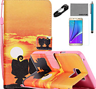 COCO FUN® Ali Lover Pattern PU Leather Case with V8 USB Cable, Flim and Stylus for Samsung Galaxy Note 5