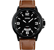 Skmei® Men's Fashion Leather Strap Wrist Watch 30m Waterproof Assorted Colors