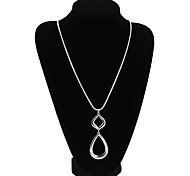 Fashion Women Trendy High Polished Alloy WaterDrop Pendant Necklace