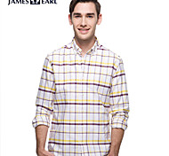 JamesEarl Men's Shirt Collar Long Sleeve Shirt & Blouse Purple - DA192034433