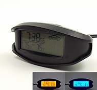 12V/24V Use Orange/Blue Backlight LCD Display Indoor/outdoor Thermometer with Voltmeter and 12/24 Hour Format Display