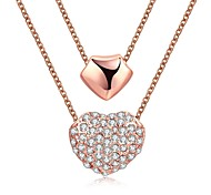 Fashion Diamante Heart and Geometry Double-Strand Chain Gold-Plated Pendant Necklace(Rose Gold)(1PC)