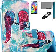 Funda de piel de coco patrón de las alas Fun® de la PU con el cable USB v8 lápiz flim y soporte para Samsung Galaxy S4 / S4 Mini / S5 /