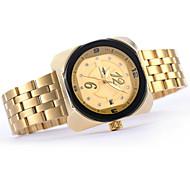Montre cadran rectangle mode calendrier de diamant en acier inoxydable bande de poignet quartz analogique des femmes (de couleurs