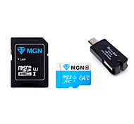 Original MGN 64GB  Class 10 MicroSDHC TF Flash Memory Card with SD SDHC Adapter and USB & OTG  Two in One Card Reader
