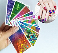 1Pcs Different Color Glass Nail New Nail Glass paper Irregular Aurora Laser Platinum paper stickers 25 Designs