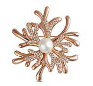 Yazilind Folwer Brooches Classical 2016 New Style Snow Like Classic High Golden Silvery Quality Pins