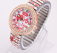 Ladies' Watch Europe And The New Sweet Love Letter Printed Stretch Strap Watch