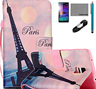 coco Fun® pink sky eiffel Muster PU Ledertasche mit v8 USB-Kabel flim und Stylus für Samsung Galaxy Note 4 / Note 5
