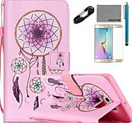 coco Fun® windbell Muster PU Ledertasche mit v8 USB-Kabel Film und Stylus für Samsung Galaxy S6 / S6 Rand / s6 Rand Plus