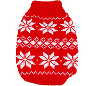 Dog Sweater Red Dog Clothes Winter / Spring/Fall Snowflake Keep Warm / Christmas / New Year's