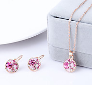 Jewelry Set Classic Elegant Crystal Unique Design Pendant Necklace Earrings Girlfriend Gift