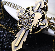 Unisex Round Dial Cross Pattern Retro Cartoon Fashion Quartz Necklace Watch Pocket Watch