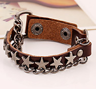 Star Charms Leather Chain Bracelets