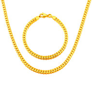 New Trendy Men Jewelry 18K Gold Plated Snake Chain Necklace Bracelet Jewelry NB60037
