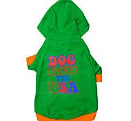 Dog Hoodies - XS / S / M / L - Winter - Green - Waterproof / Fashion - Cotton