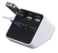 All-in-1 USB 2.0 Card Reader USB Hub 3*USB+MS/SD/M2/TF Card Reader 7 Slots USB Combo - White