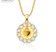 Heart Shape Pendant New Trendy Jewelry 18K Gold Plated White Crystal Flower Pendants for Women Wholesale P30132