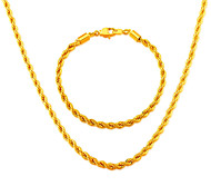 Trendy Men Jewelry Wholesale 18K Gold Plated 4.6MM Line shape Necklace Bracelet African Jewelry NB60036