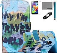Funda de piel de coco Fun® patrón mapa de la PU con el cable USB v8 lápiz flim y soporte para Samsung Galaxy S4 / S4 Mini / S5 / s5 Mini