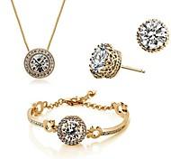 Jewelry Set Classic Elegant Crystal Unique Design Crown Pendant Necklace Earrings Bracelet Girlfriend Gift
