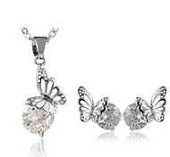 Jewelry Set Classic Elegant Crystal Unique Design Butterfly Pendant Necklace Earrings Girlfriend Gift