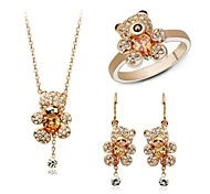 Whole Sale Crystal Jewelry Set Elegant Unique Crystal Design Bear Pendant Necklace Earrings Ring Girlfriend Gift