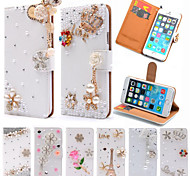Luxury Stand Flip Litchi Leather Diamond Bowknot Flower Wallet Case For Apple iPhone 6/6S Handmade Cover