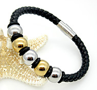 Fashion Men's Stainless Steel Beads Leather Bracelets