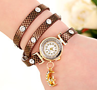 Ladies' Watch Folk Style Love New Pearl Inlaid Diamond Woven Leather Wrapped Round Ladies Bracelet Watch