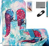 coco Fun® Flügel Muster PU Ledertasche mit v8 USB-Kabel Film und Stylus für Samsung Galaxy S6 / S6 Rand / s6 Rand Plus