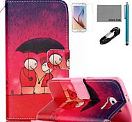 coco Fun® Liebhaber Muster PU Ledertasche mit v8 USB-Kabel Film und Stylus für Samsung Galaxy S6 / S6 Rand / s6 Rand Plus