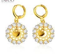 Heart Shape Drop Earrings New Trendy Jewelry 18K Gold Plated White Crystal Flower Drop Earrings for Women E10125