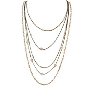Multilayers Beads Chains Long Necklace