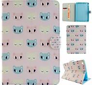 gato de dibujos animados de dibujo coloreado o patrón de cuero de la PU caso folio funda de la tableta para el ipad mini4 MINI3 / 2/1