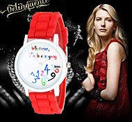 123 English Digital Geneva watch women dress watch Ladies quartz watch silicone watch
