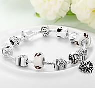Women Gift Strand Beads Bracelets Beads Glass Beads heart Charm Bracelets & Bangles 925 Silver European beads PH034