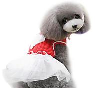 Dog Dress Red / Blue Spring/Fall Fashion