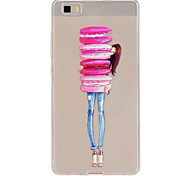 Macaron Girl Pattern Slim Relief TPU Material Phone Case for P8 Huawei Lite